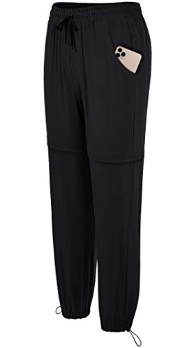 Fulbelle Sweatpants for Girls, Outdoor Plus Black Dress Rain Pants Women UPF 50+ Sun Protection Quick Dry Waterproof Lightweight Activewear Cargo Pocket Baseball Beach Workout XXL