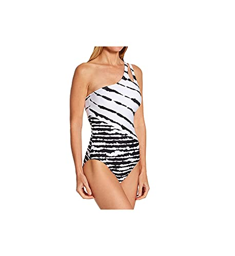 La Blanca Women's Standard Shoulder Cut Out One Piece Swimsuit, Black/White//Elemental, 16