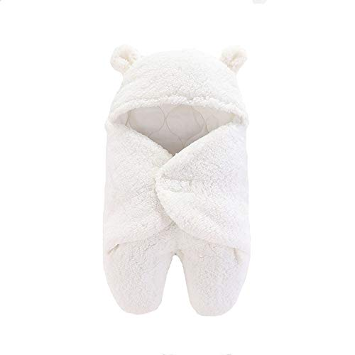 Mibuy Baby Schlafsack mit Beinen Warm Winterschlafsack mit Kapuze Verdicken Lammkaschmir Nachtwäsche Neugeborene Langarm Schlafanzug (Weiß,2-5 Monate)