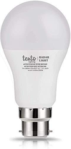 Tento Lighting - Bombilla LED con sensor de movimiento de 9 W, 60 W - 75 W, tipo de tapa B22, luz de noche para exteriores, luz blanca fría (6000 K) (2 unidades)
