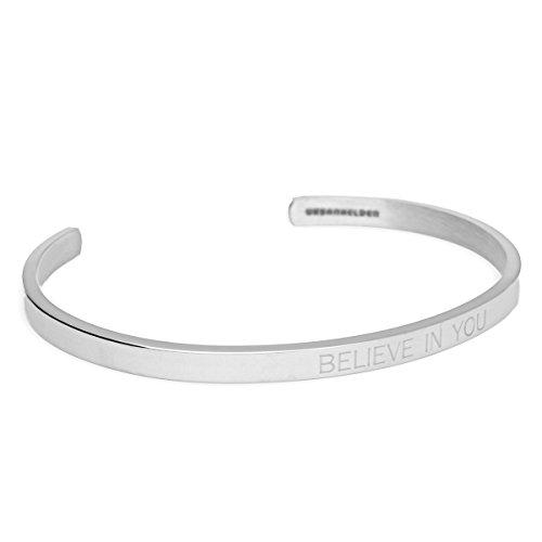URBANHELDEN - Armreif mit Spruch - Damen Schmuck Inspiration Motivation - Verstellbar, Edelstahl - Armband mit Gravur