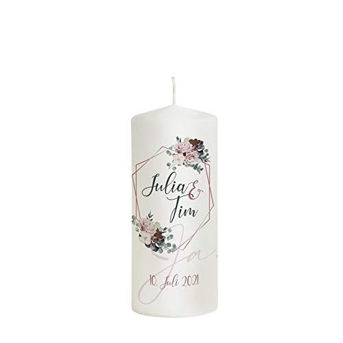"""Hochzeitskerze Modern mit Namen und Datum 20 x 8 cm - """"Julia"""" perfekt als Hochzeitsgeschenk - Hochzeitskerze für den schönsten Tag in deinem Leben (20 x 8 cm)"""