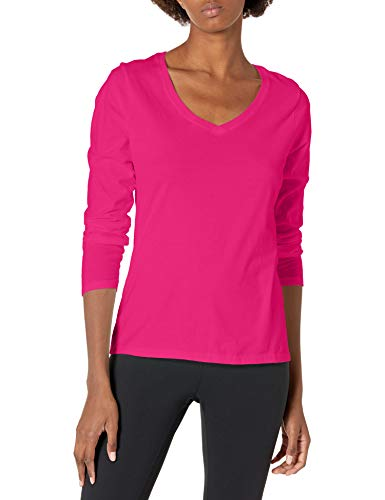 Hanes Women's V-Neck Long Sleeve Tee, Sizzling Pink, X-Large