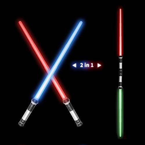 OPASDH Laser Sword, Telescopic Extendable and Collapsable Light Up Saber, 2-in-1 LED 7 Colors FX Dual Saber with Sound (Motion Sensitive) for Galaxy War Fighters Stocking Idea, Xmas Gift (2 Pack)