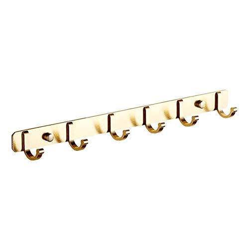 YLCJ Wandkapstok Spazio Coat hanger Aluminium kleerhanger Kleding hanger voor rij Retro Decoratie voor opslag Haken voor hoeden voor ingang sleutel (Kleur: Goud, Maat: 6 haken)
