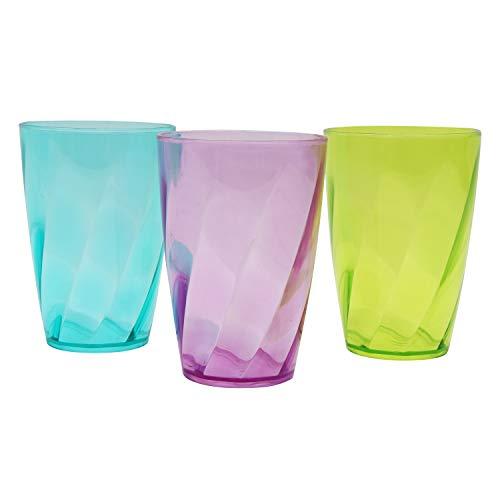 Vasos de Plástico coloreado 450 ml - Set de 9 Reutilizables Copas de Agua - Vasos de Plástico para Fiestas, Bodas, Camping y Picnic - Estilo Cristal Tazas Set - Apto para Lavavajillas (15 oz)