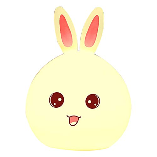 Draagbare led-nachtlampje van siliconen, meerkleurig, konijnen, nachtlampje voor kinderen, ledverlichting, oplaadbaar via USB, met afstandsbediening, aanraakgevoelige bediening voor de slaapkamer