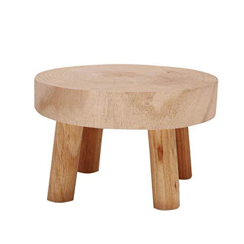 JIESD-Z Mini taburete decorativo redondo de madera, soporte para plantas de madera natural, soporte para macetas, taburete de jardinería, decoración vintage para el hogar, 8,9 cm de altura