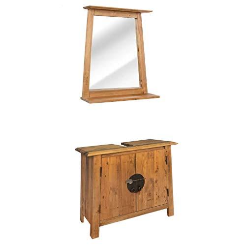 Cikonielf Mueble bajo lavabo con espejo, juego de muebles para el baño de madera maciza de pino reciclado, mueble bajo lavabo con amplio compartimento, estilo vintage, fácil de montar