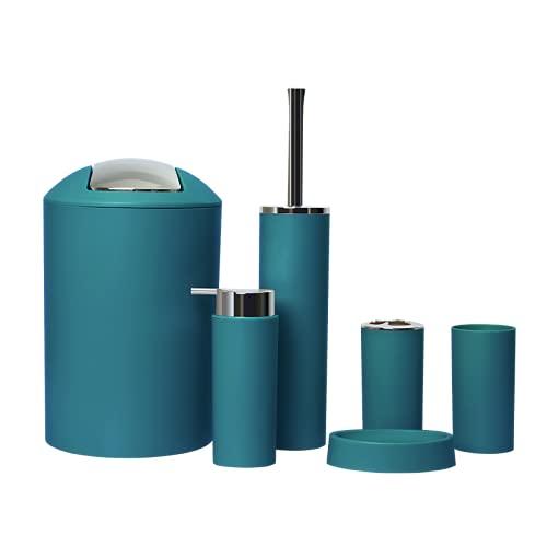 GMMH – Set di 6 accessori da bagno, con dispenser per sapone, porta saponetta e scopino per WC (modello 2a, turchese scuro)