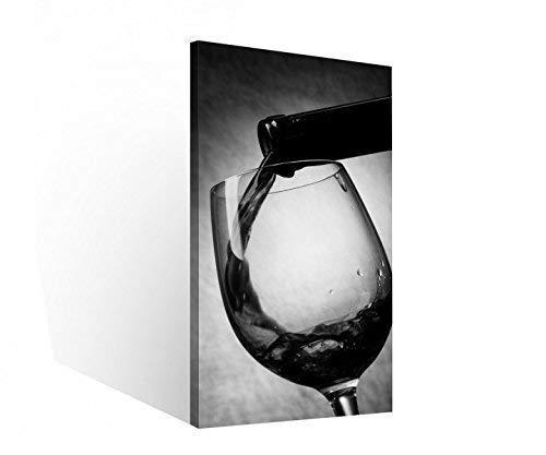 Leinwand 1 Tlg Wein Glas Flasche Weinflasche schwarz weiß Bilder Wandbild 9C085 Holz - fertig gerahmt - direkt vom Hersteller, 1 Tlg BxH:40x80cm