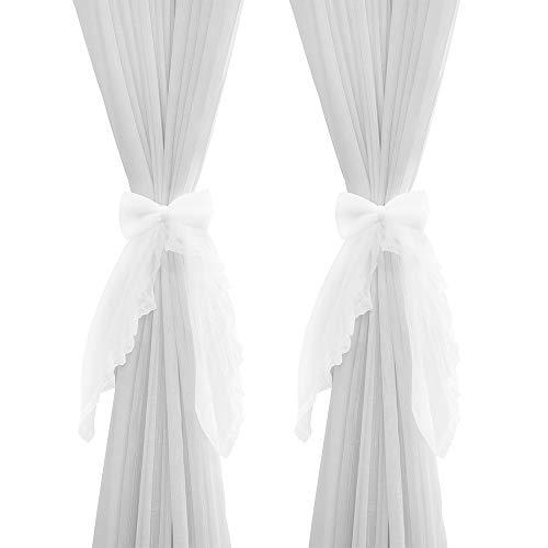 Hggzeg 2 alzapaños de cortina con lazo para cortinas de encaje dulce para decoración del hogar (blanco)