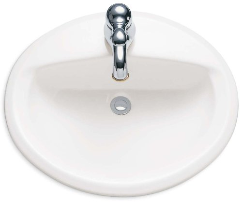 American Standard 0475047.020 Aqualyn Oval Drop-In Bathroom Sink with Single Faucet Hole, White, 1.25 Inch