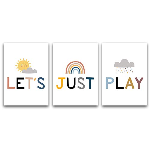 NLKTIYC Play Sign for Playroom Wall, Kids Playroom Wall Decor, Letter Canvas Prints, Kids Wall Art,Cute Bedroom Living Room Artwork,Children Room Decals,Let's Just Play Posters,Framed Easy to Hang