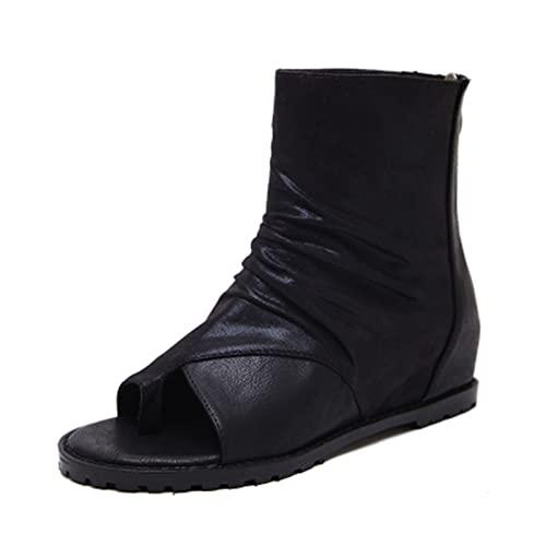 JinHongShop 2021 Sandalias de Verano Sandalias High Tacón Casual Genuino Abierto de Punta de Punta Plataforma Altura Aumento de Zapatos de señoras Chunky HHQIYUAN (Color : Black, Shoe Size : 8)