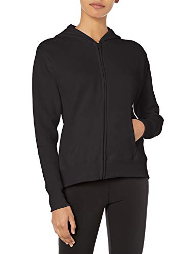 Hanes womens ComfortSoft EcoSmart Women's Full-Zip Hoodie Sweatshirt Ebony Large