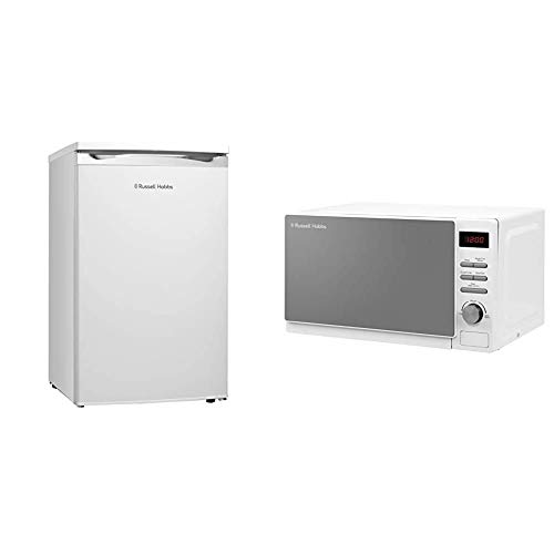 Russell Hobbs RHUCLF2W White Under Counter 50cm Wide Freestanding Larder Fridge, Free 2 Year Guarantee & Hobbs RHM2079A 20 L 800 W White Digital Solo Microwave with 5 Power Levels