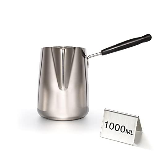 ELUSH 1000ml/33oz Butter Warmer, Premium Stainless Steel Milk Warmer Pot with Spout, Butter Pan, Turkish Coffee Pot, Chocolate Melting Pot (1000ml)