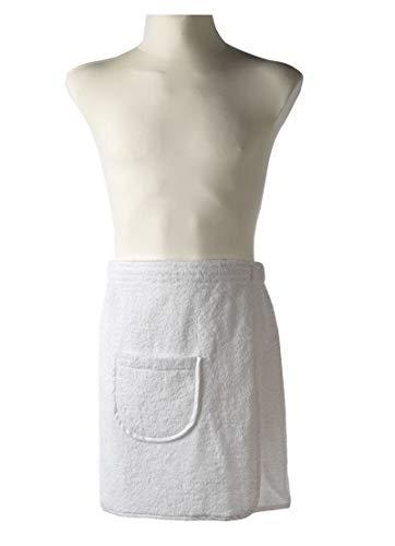 Carenesse Kilt de sauna homme 50 x 140 cm, élastique, fermeture velcro, Housse, coton blanc
