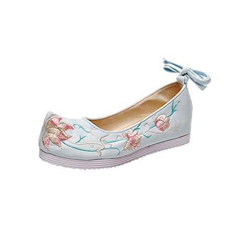 Diaod Zapatos de Mujer Plana Bordado Poco Profundo cordón de Vestir de Moda al Aire Libre Transpirable al Aire Libre Redondo (Color : B, Size : 4 Code)