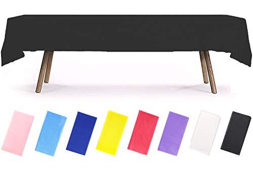 PartyWoo Tischdecke Schwarz, 137 x 274 cm/ 54 x 108 Zoll Rechteckige Tischdecke Abwaschbar für 6 bis 8 Fuß Tisch, Tischtuch, Table Cloth, wasserdichte Tischdecke für Party, Geburtstag (1 STÜCK)