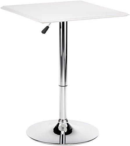Amstyle Design Altona Tavolino Quadrato da bistrot, Finta_Pelle, Bianco, taglia unica