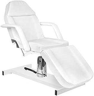 Activeshop Hydraulische cosmetische ligstoel Basic 210 wit tot 150 kg belastbaar premium PU-leer