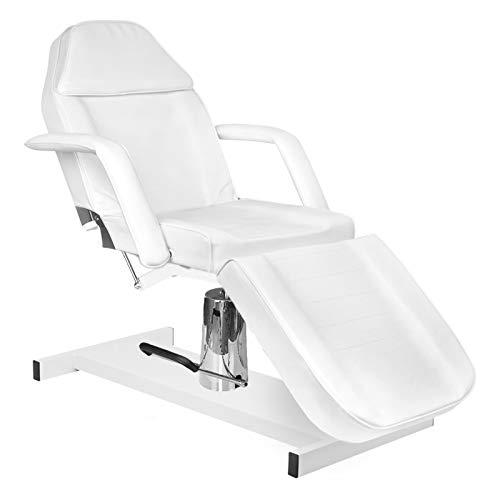 Activeshop Hydraulische Kosmetikliege Basic 210 Weiss bis 150 kg belastbar Premium-PU-Leder