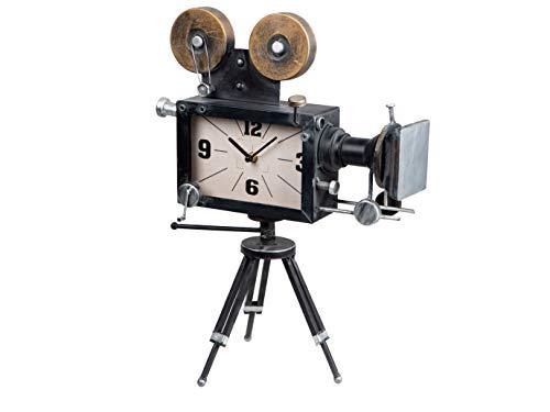 dekojohnson antike rustikale Kamera-Uhr aus Metall Filmkamera als Standuhr mit Ständer Fotoapparat Miniatur mit Quarzuhr Tischuhr schwarz weiß 46cm