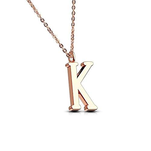Bungsa® BUCHSTABE K Kette Rosegold - BUCHSTABEN-ANHÄNGER K Halskette in Rosegold - Alphabet Kette rosé - aus Edelstahl - Schmuck für Damen, Kinder & Herren