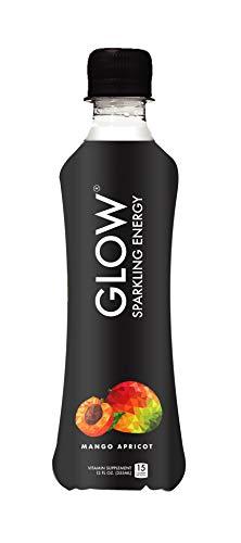 GLOW Beverages Premium Sparkling Infused Electrolyte Hydration + Caffeine Energy Drink - 12 Pack 10.8oz Plastic - Mango Apricot - Vitamins & Antioxidants