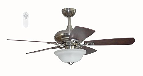 Litex TLEII44BNK5L Brushed Nickel 44-inch Ceiling Fan with Quick Connect Five Reversible Light Maple/Driftwood