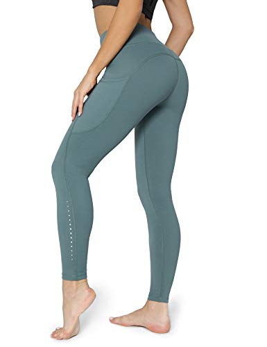 POSHDIVAH Ultra Soft Yoga Pants for Women High Waited Tummy Control Workout Leggings with Pockets Dark Green XXL