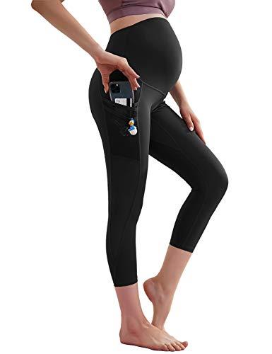 Pantalones de yoga para mujer de cintura alta, opacos, pantalones largos de fitness con bolsillos MC0053S21 Mc0053s21 (negro) XXL