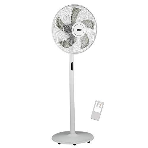 ANSIO Standventilator 40cm mit Fernbedienung - Ventilator- Standlüfter- höhenverstellbarer Standfuß- Sockelventilator mit 8 Drehzahlstufen – weiß - 2 Jahre Garantie (Batterien NICHT im enthalten)