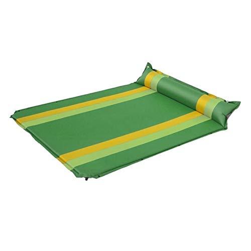 Hanks Shop Doppeltes Camping-Luftkissen, farblich passend, automatisch, aufblasbar, Reise, Picknick, Strand, Outdoor-Sportmatte, tragbare Decke (Farbe: grün)