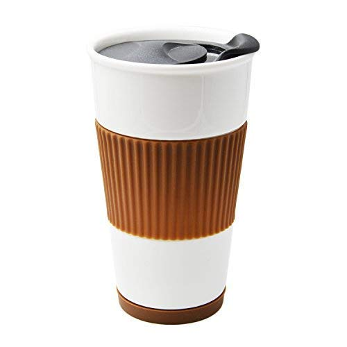 UDMG Ceramic Double Wall Insulated Travel Coffee Cup with Slider Lid, Silicone Sleeve & Built-In Coaster, 10 fl.oz (Coffee)