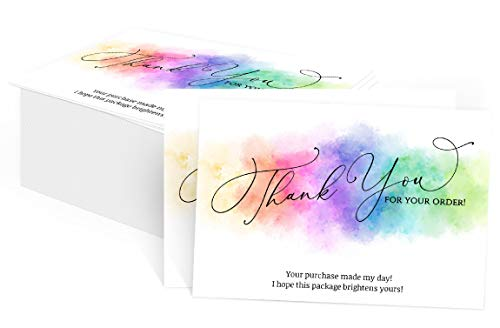 """100 Watercolor Rainbow Thank You for Your Order Cards for Small Business, You Made My Day Purchase Order Inserts, Customer Appreciation Note Cards, Online Business 3.5"""" x 2"""" (Business Card Size)"""