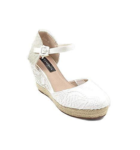Timbos Zapatos - 121993 Cuña Novia Esparto, para Mujer, Color Blanco, Material...