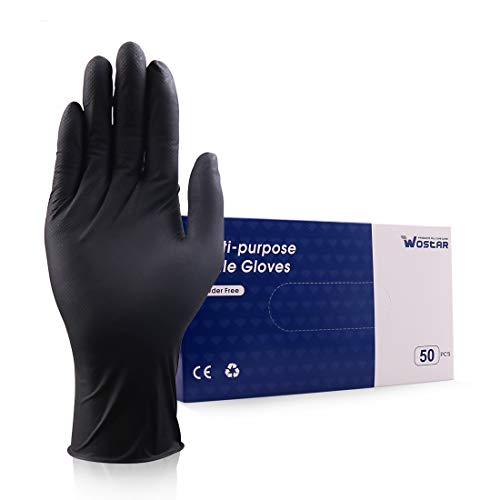 Wostar Nitrile Disposable Gloves 6Mil 50 pcs Latex Free Safety Working Gloves