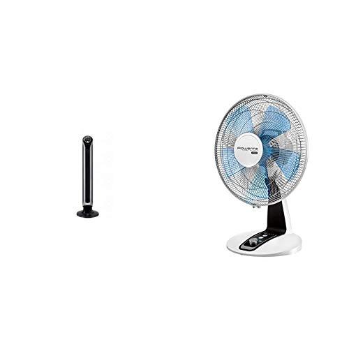 Rowenta Eole Infinite Turmventilator, 40W, Ventilator, 3 Geschwindigkeitsstufen & Tischventilator Turbo Silence Extreme, Ventilator, 4 Geschwindigkeitsstufen, 3 W, silber, schwarz, grau und weiß