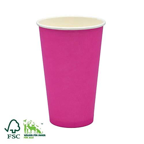 Bio Einweg Becher für Kalt- und Heißgetränke, Kaffeebecher to Go Pink 400 ml (16 OZ) 50 Stück