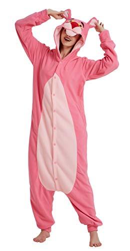 FunnyCos Animal Onesie Adulto Pijamas Unisex Halloween Disfraz para Mujeres Hombres y Adolescentes Rosa Pantera rosa. S