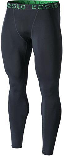 Tesla CD TM-MUP09-CHC_Medium Men's Compression Pants Baselayer Cool Dry Sports Tights Leggings MUP09
