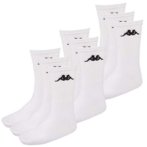 Kappa 9 Paar SONOTU 3 Sportsocken Gr. 35-46 Unisex Tennissocken, Socken und Strümpfe:39-42, Farbe:White