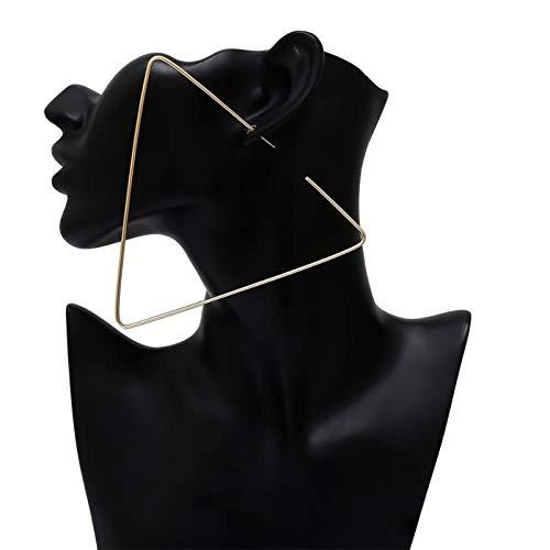 QIN Pendientes de aro de triángulo geométrico exagerado Retro Declarados Pendientes de Anillo Grande de Metal de Oro Joyas de Mujer