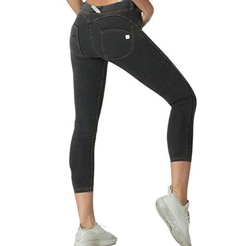 QINJLI Sport 7-traps broek vrouwen billen afnemen sportbroek hoge bal fitness perzik zeven punten-broek X-Large A