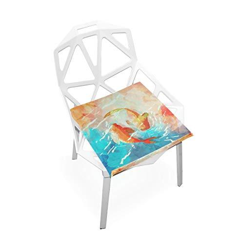 LORONA Aquarell Japanische Fische im Sitzkissen Stuhlkissen Memory Foam Pads für gesundes Sitzen zu Hause, Büro, Küche, Rollstuhl, Essen, Terrasse, Camping | Quadrat 16 'x 16'