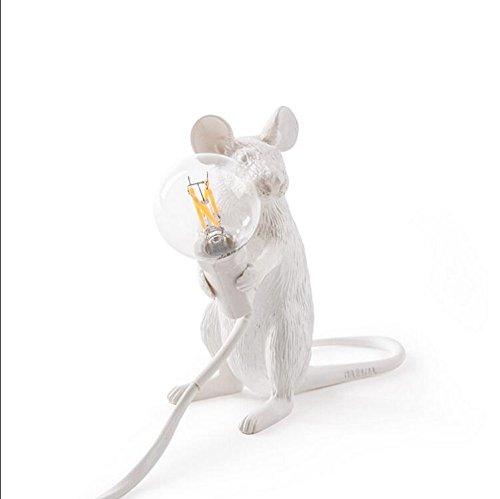 NASN Art - Lámpara de escritorio con diseño de ratón, color blanco y dorado, resina, Blanco, Sitting 25.00watts