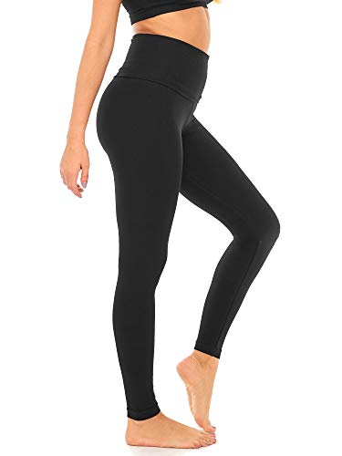 DEAR SPARKLE Fold Over Yoga Pants for Women Cotton Leggings Foldover High Waist Leggings Plus Size (C6 F) (Black, Medium)